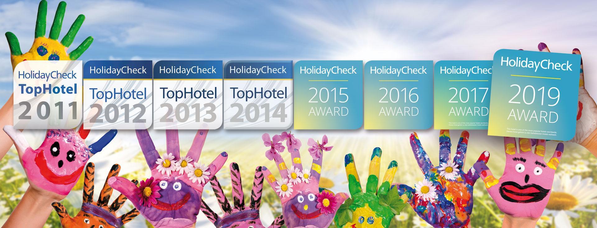 HolidayCheckAward 2011 bis 2019